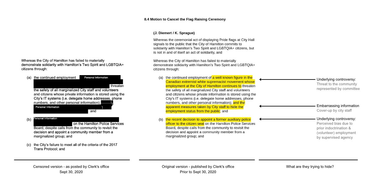 image of Kroetsch document comparing redactions